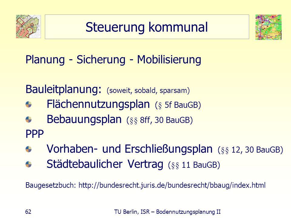 62 TU Berlin, ISR – Bodennutzungsplanung II Steuerung kommunal Planung - Sicherung - Mobilisierung Bauleitplanung: (soweit, sobald, sparsam) Flächennu
