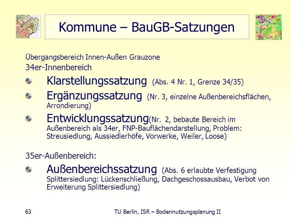 63 TU Berlin, ISR – Bodennutzungsplanung II Kommune – BauGB-Satzungen Übergangsbereich Innen-Außen Grauzone 34er-Innenbereich Klarstellungssatzung (Ab