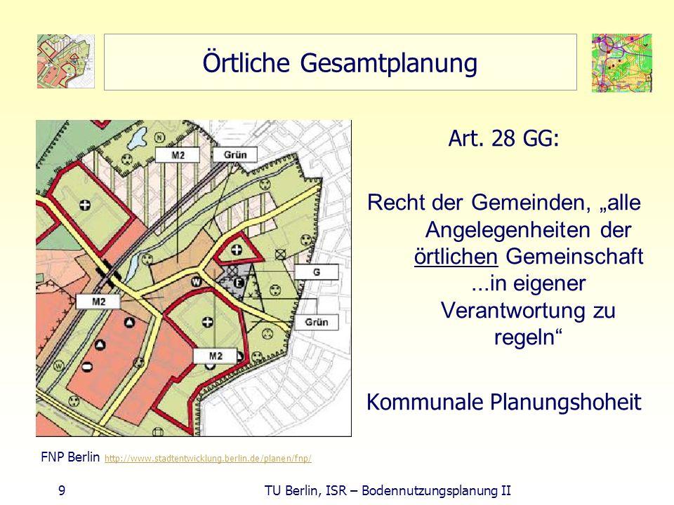 20 TU Berlin, ISR – Bodennutzungsplanung II überörtliche Belange der Raumordnung gleichwertige Lebensverhältnisse (GG), ausgeglichene wisök- Verhältnisse in Teilräumen (ROG), Daseinsvorsorge bei wichtigen Gütern (sozialer Bundesstaat) Zentrale Orte: Gewährleister der Nachhaltigkeitsforderung (§ 1 Abs.