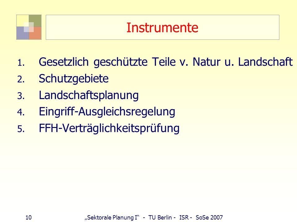 10Sektorale Planung I - TU Berlin - ISR - SoSe 2007 Instrumente 1. Gesetzlich geschützte Teile v. Natur u. Landschaft 2. Schutzgebiete 3. Landschaftsp