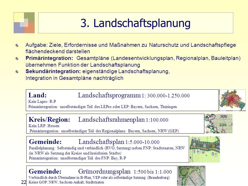 22Sektorale Planung I - TU Berlin - ISR - SoSe 2007 3. Landschaftsplanung Aufgabe: Ziele, Erfordernisse und Maßnahmen zu Naturschutz und Landschaftspf