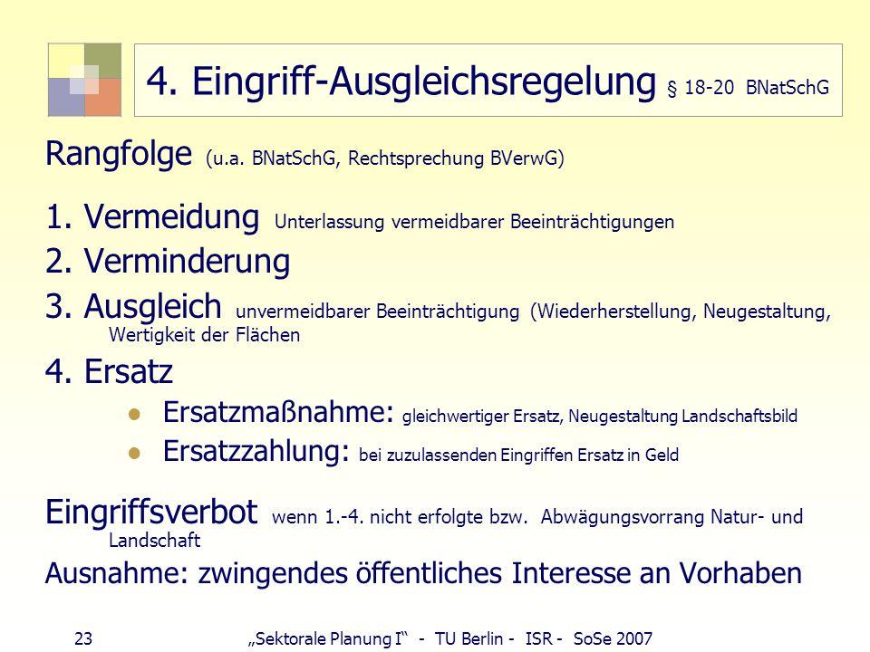 23Sektorale Planung I - TU Berlin - ISR - SoSe 2007 4. Eingriff-Ausgleichsregelung § 18-20 BNatSchG Rangfolge (u.a. BNatSchG, Rechtsprechung BVerwG) 1
