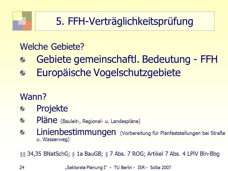 24Sektorale Planung I - TU Berlin - ISR - SoSe 2007 5. FFH-Verträglichkeitsprüfung Welche Gebiete? Gebiete gemeinschaftl. Bedeutung - FFH Europäische