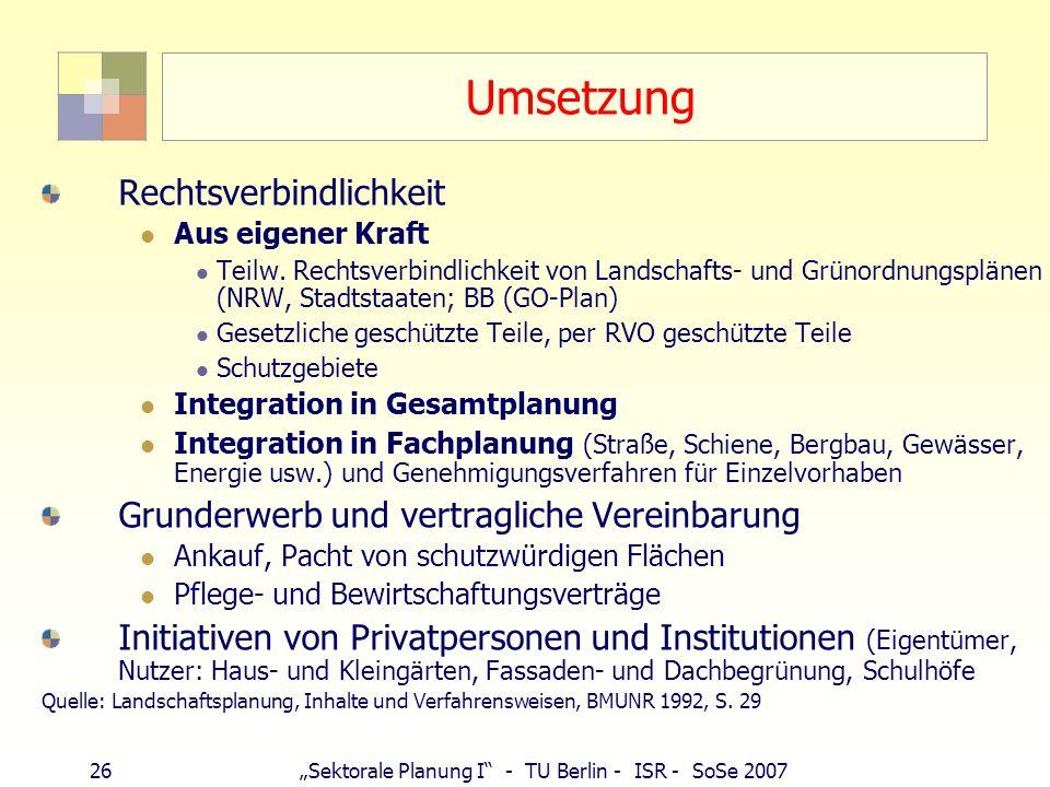 26Sektorale Planung I - TU Berlin - ISR - SoSe 2007 Umsetzung Rechtsverbindlichkeit Aus eigener Kraft Teilw. Rechtsverbindlichkeit von Landschafts- un