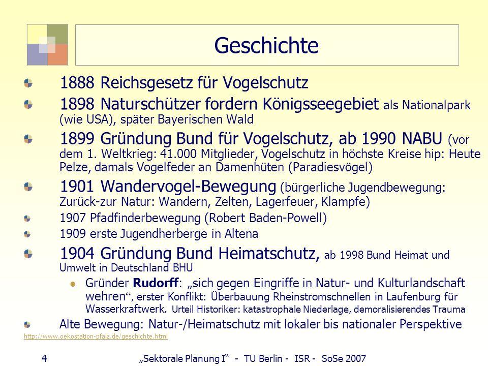 4Sektorale Planung I - TU Berlin - ISR - SoSe 2007 Geschichte 1888 Reichsgesetz für Vogelschutz 1898 Naturschützer fordern Königsseegebiet als Nationa