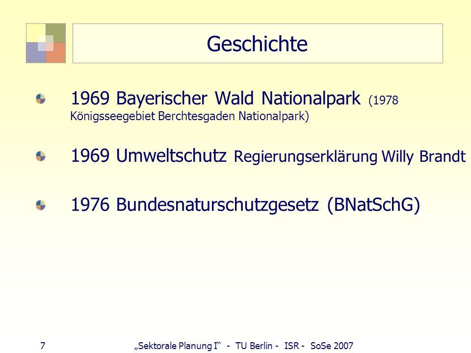 7Sektorale Planung I - TU Berlin - ISR - SoSe 2007 Geschichte 1969 Bayerischer Wald Nationalpark (1978 Königsseegebiet Berchtesgaden Nationalpark) 196