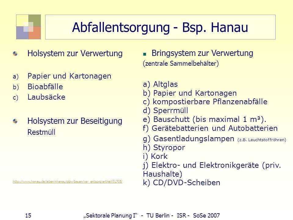 15Sektorale Planung I - TU Berlin - ISR - SoSe 2007 Abfallentsorgung - Bsp. Hanau Holsystem zur Verwertung a) Papier und Kartonagen b) Bioabf ä lle c)
