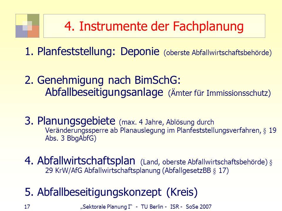 17Sektorale Planung I - TU Berlin - ISR - SoSe 2007 4. Instrumente der Fachplanung 1. Planfeststellung: Deponie (oberste Abfallwirtschaftsbehörde) 2.
