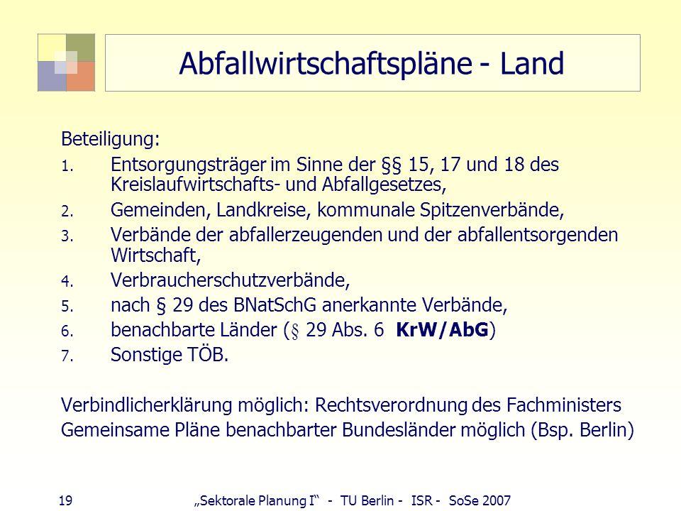 19Sektorale Planung I - TU Berlin - ISR - SoSe 2007 Abfallwirtschaftspläne - Land Beteiligung: 1. Entsorgungsträger im Sinne der §§ 15, 17 und 18 des