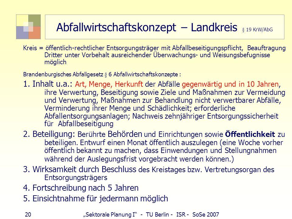 20Sektorale Planung I - TU Berlin - ISR - SoSe 2007 Abfallwirtschaftskonzept – Landkreis § 19 KrW/AbG Kreis = öffentlich-rechtlicher Entsorgungsträger