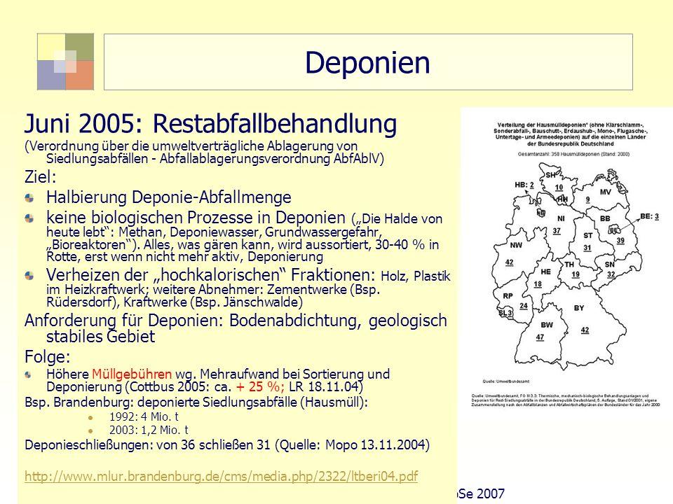 23Sektorale Planung I - TU Berlin - ISR - SoSe 2007 Deponien Juni 2005: Restabfallbehandlung (Verordnung über die umweltverträgliche Ablagerung von Si