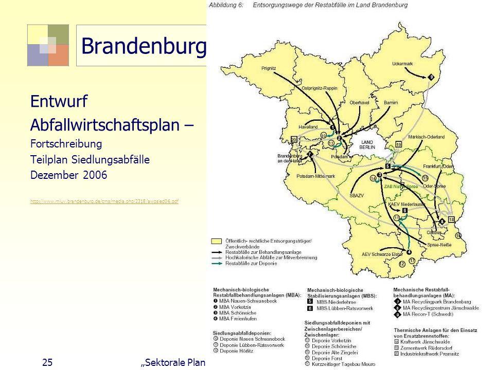 25Sektorale Planung I - TU Berlin - ISR - SoSe 2007 Brandenburg Entwurf Abfallwirtschaftsplan – Fortschreibung Teilplan Siedlungsabfälle Dezember 2006