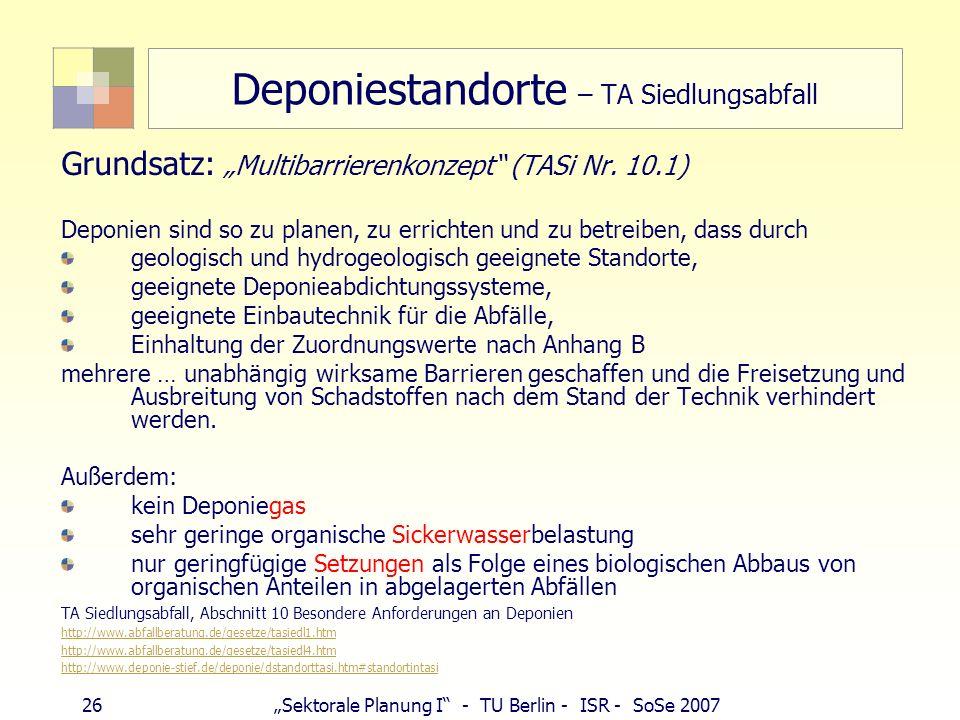 26Sektorale Planung I - TU Berlin - ISR - SoSe 2007 Deponiestandorte – TA Siedlungsabfall Grundsatz: Multibarrierenkonzept (TASi Nr. 10.1) Deponien si