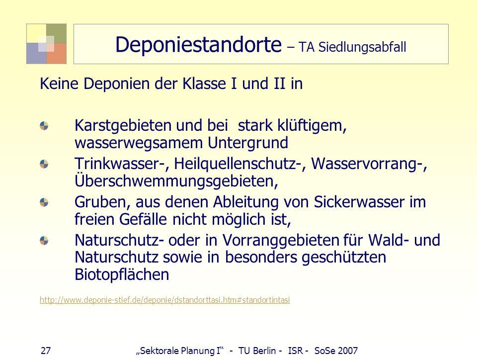 27Sektorale Planung I - TU Berlin - ISR - SoSe 2007 Deponiestandorte – TA Siedlungsabfall Keine Deponien der Klasse I und II in Karstgebieten und bei