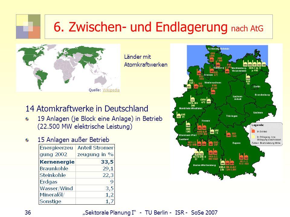36Sektorale Planung I - TU Berlin - ISR - SoSe 2007 6. Zwischen- und Endlagerung nach AtG Länder mit Atomkraftwerken 14 Atomkraftwerke in Deutschland