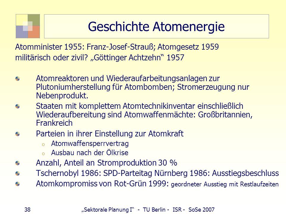 38Sektorale Planung I - TU Berlin - ISR - SoSe 2007 Geschichte Atomenergie Atomminister 1955: Franz-Josef-Strauß; Atomgesetz 1959 militärisch oder ziv