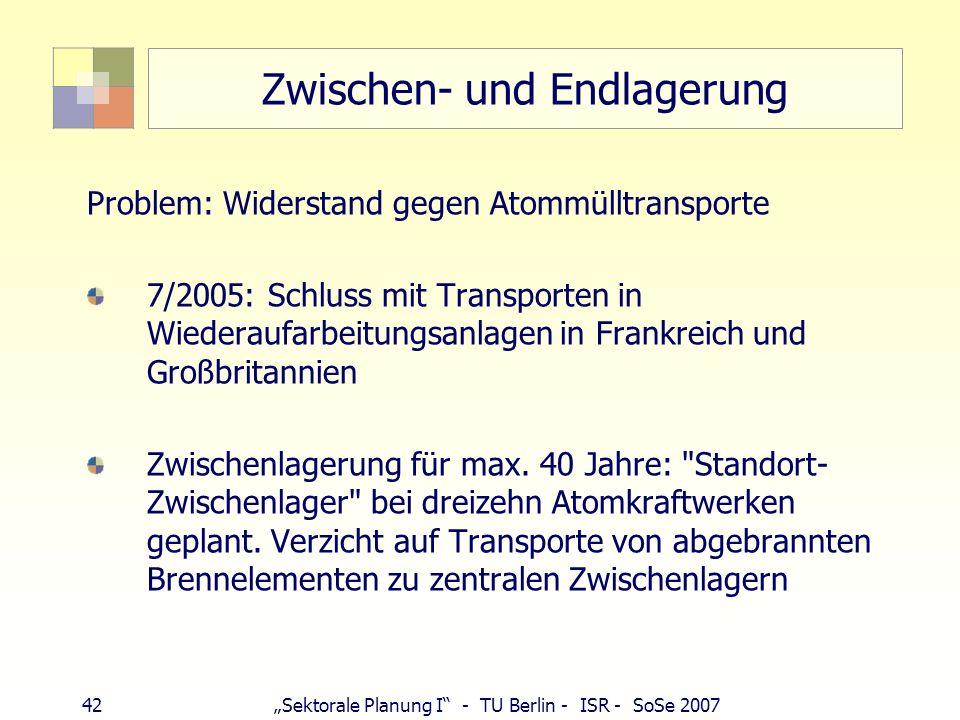 42Sektorale Planung I - TU Berlin - ISR - SoSe 2007 Zwischen- und Endlagerung Problem: Widerstand gegen Atommülltransporte 7/2005: Schluss mit Transpo