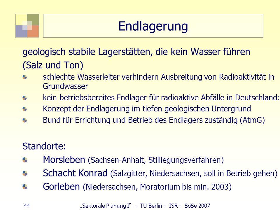 44Sektorale Planung I - TU Berlin - ISR - SoSe 2007 Endlagerung geologisch stabile Lagerstätten, die kein Wasser führen (Salz und Ton) schlechte Wasse