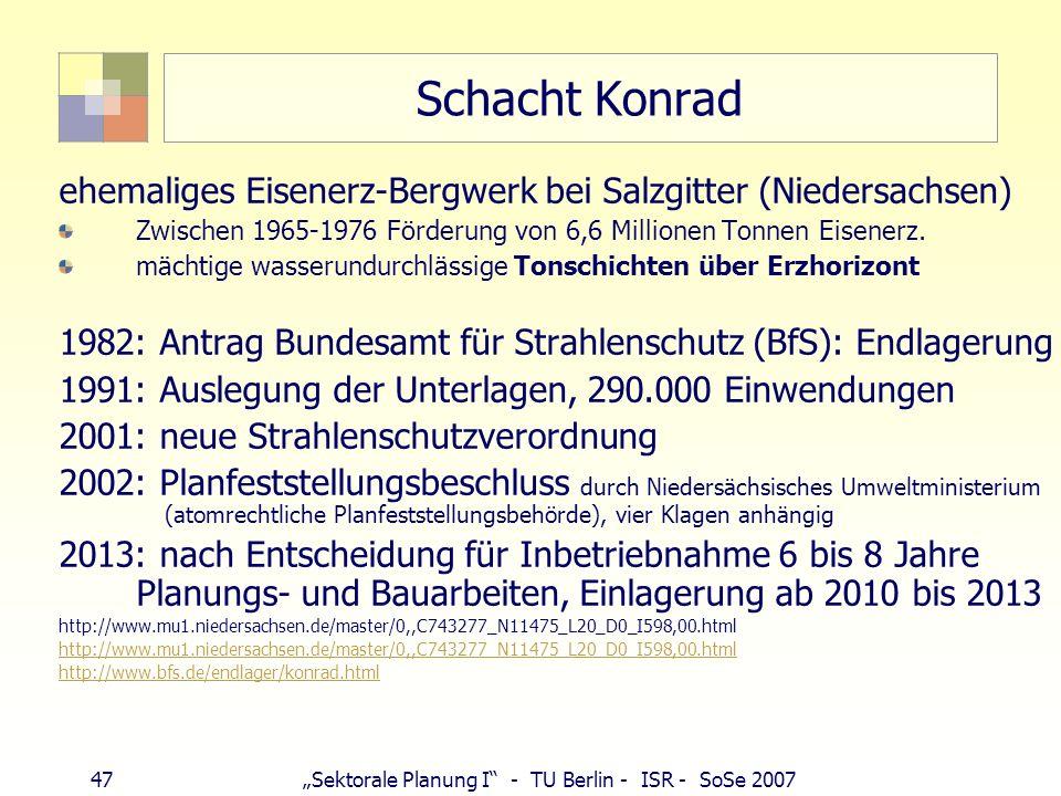 47Sektorale Planung I - TU Berlin - ISR - SoSe 2007 Schacht Konrad ehemaliges Eisenerz-Bergwerk bei Salzgitter (Niedersachsen) Zwischen 1965-1976 Förd