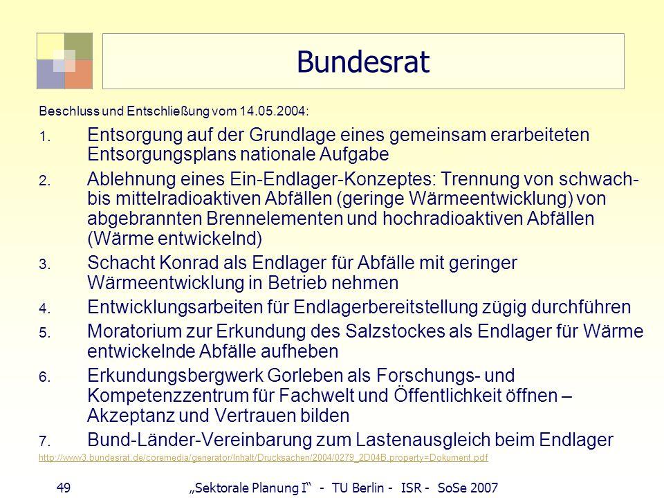 49Sektorale Planung I - TU Berlin - ISR - SoSe 2007 Bundesrat Beschluss und Entschließung vom 14.05.2004: 1. Entsorgung auf der Grundlage eines gemein