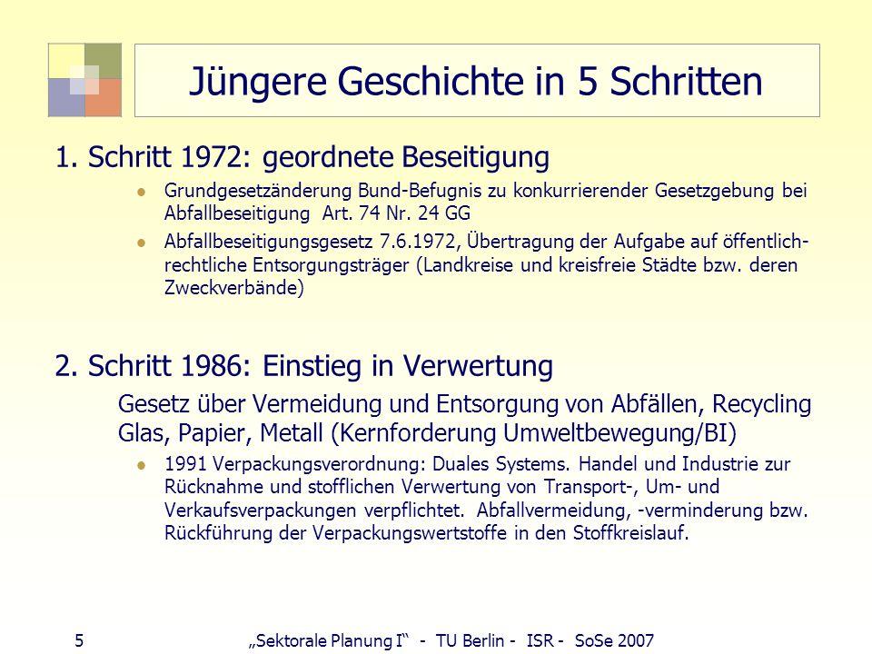46Sektorale Planung I - TU Berlin - ISR - SoSe 2007 Morsleben (Sachsen-Anhalt) Planfeststellungsverfahren Stilllegung Problem: Lösungszutritt im Einlagerungsbereich http://www.bfs.de/bfs/druck/broschueren/morsleben.html/br_morsleben_10.pdf http://www.bfs.de/bfs/druck/broschueren/morsleben.html/br_morsleben_10.pdf endgültige Stilllegung bedarf Planfeststellungsbeschluss Planfeststellungsunterlagen werden erstellt (Verfüll- und Verschließkonzept, belastbarer Nachweis der Langzeitsicherheit) Zeitplan: Antrag auf Planfeststellung 13.