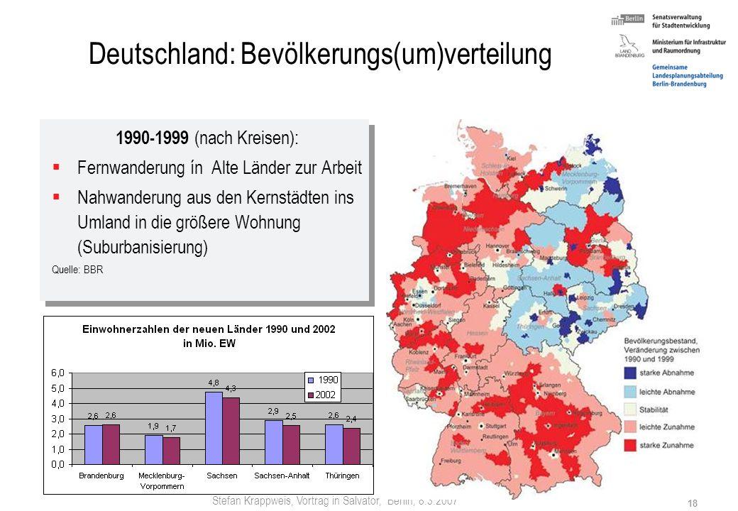 Stefan Krappweis, Vortrag in Salvator, Berlin, 8.3.2007 17 Bevölkerungsentwicklung – Neue Länder Wanderungsmanagement der Verlierer (Rückholwerbung, R