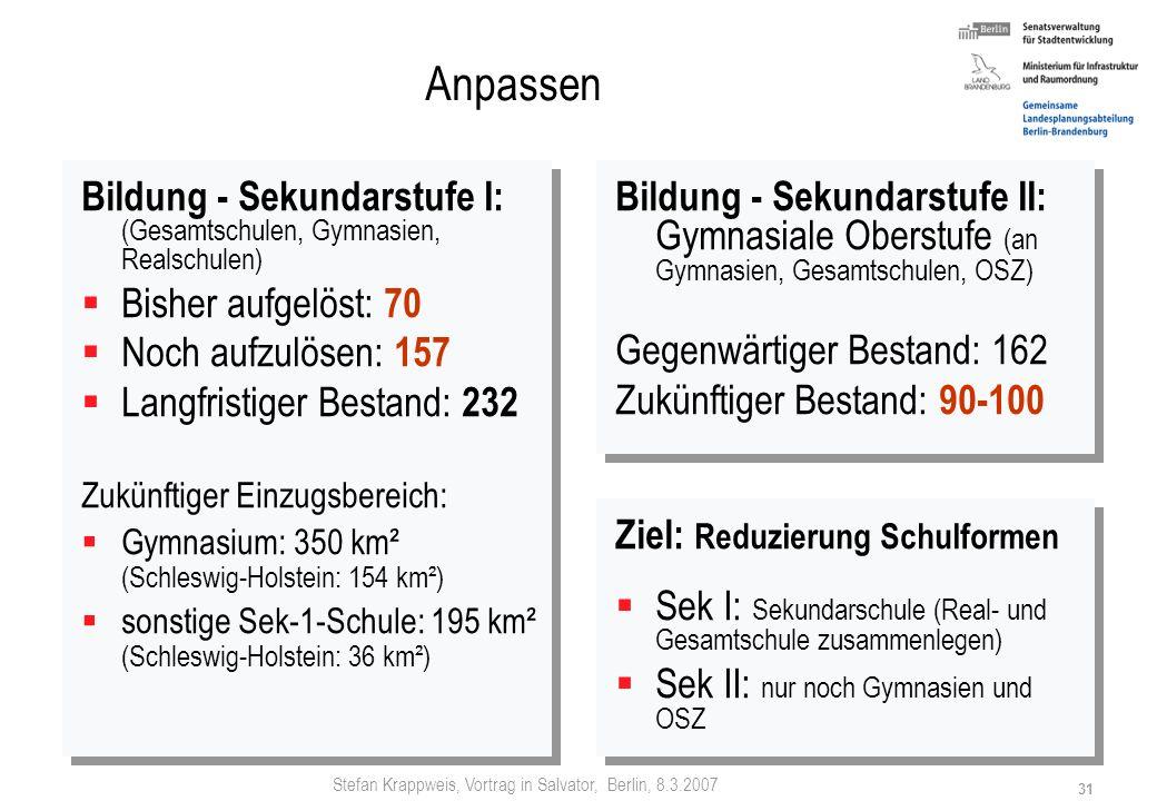 Stefan Krappweis, Vortrag in Salvator, Berlin, 8.3.2007 30 Anpassen Betreuung - Anpassung vollzogen: von 26.000 auf 9.000 Stellen (-65 %) (2001 zu 199