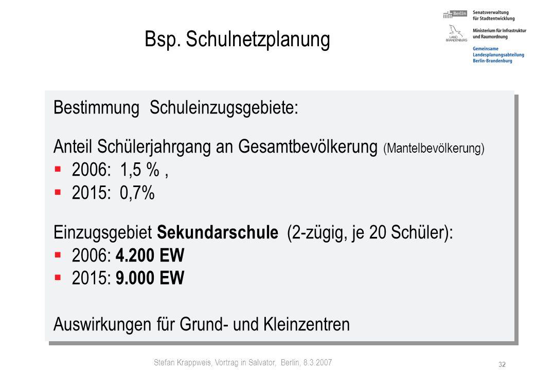 Stefan Krappweis, Vortrag in Salvator, Berlin, 8.3.2007 31 Anpassen Bildung - Sekundarstufe I: (Gesamtschulen, Gymnasien, Realschulen) Bisher aufgelös