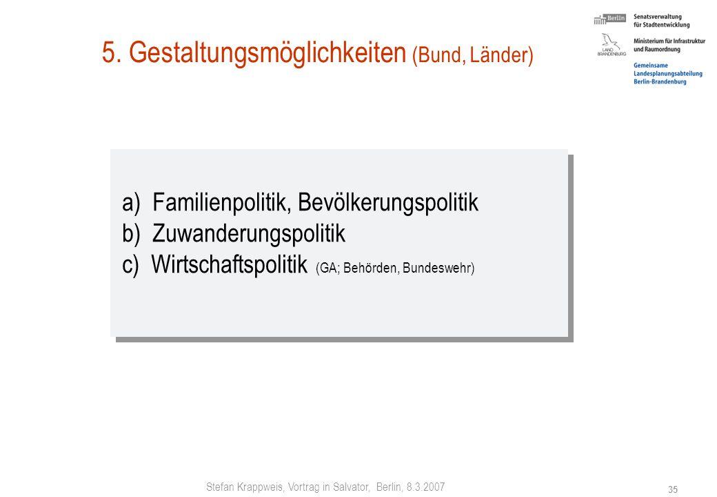 Stefan Krappweis, Vortrag in Salvator, Berlin, 8.3.2007 34 4. Wer ist gefordert? Bund soziale Sicherungssysteme Ost-West-Angleichung Aufbau Ost Famili