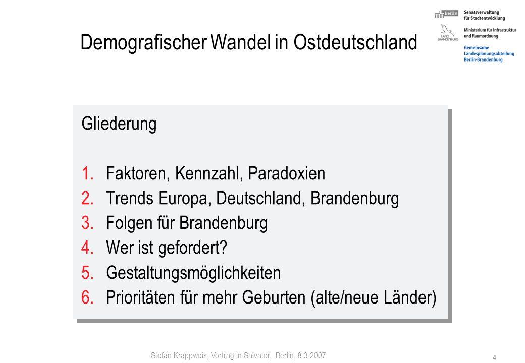 Stefan Krappweis, Vortrag in Salvator, Berlin, 8.3.2007 3 Zukünftige Geburtenziffern weltweit BiB-Mitteilungen 2/2004 TFR = total fertility rate (zusa