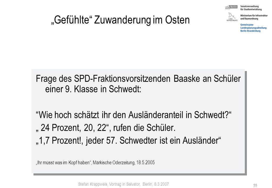Stefan Krappweis, Vortrag in Salvator, Berlin, 8.3.2007 54 Gestalten: Zuwanderungspolitik Aufenthaltserlaubnisse (befristet) für Ausländische Studente