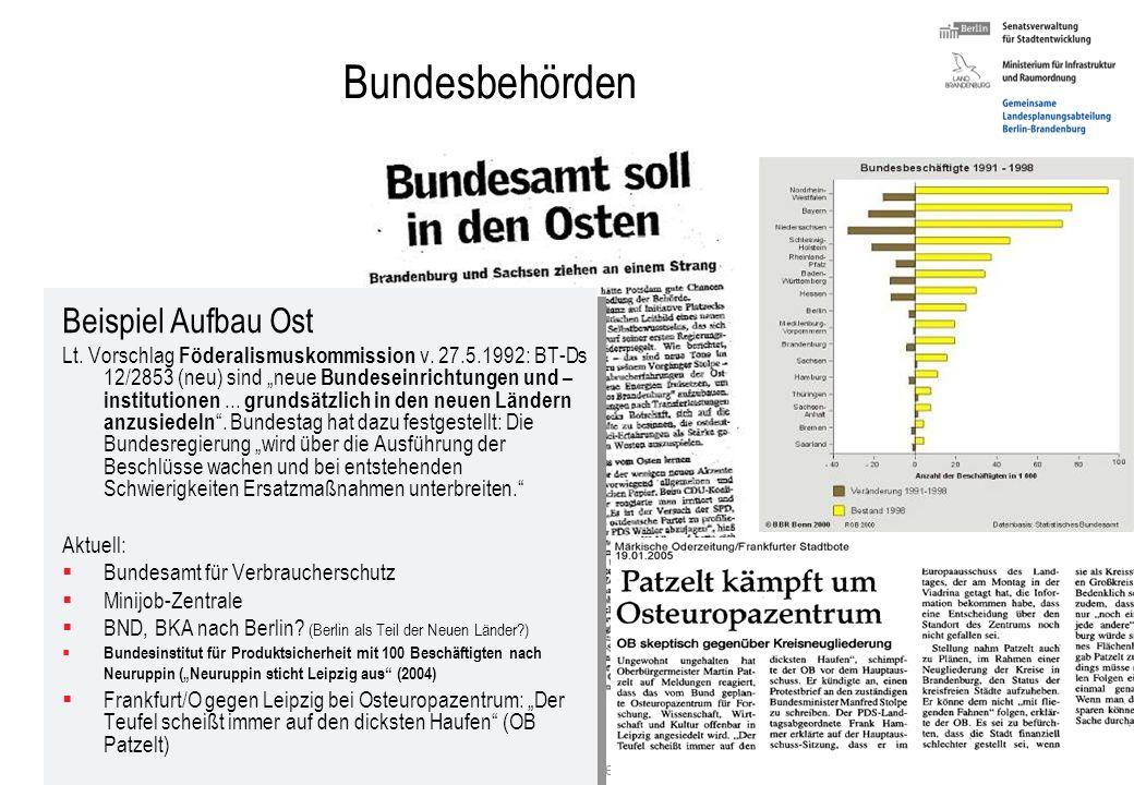 Stefan Krappweis, Vortrag in Salvator, Berlin, 8.3.2007 56 c) Wirtschaftspolitik Arbeitsplätze schaffen: Bundesbehörden und Einrichtungen im Osten ans