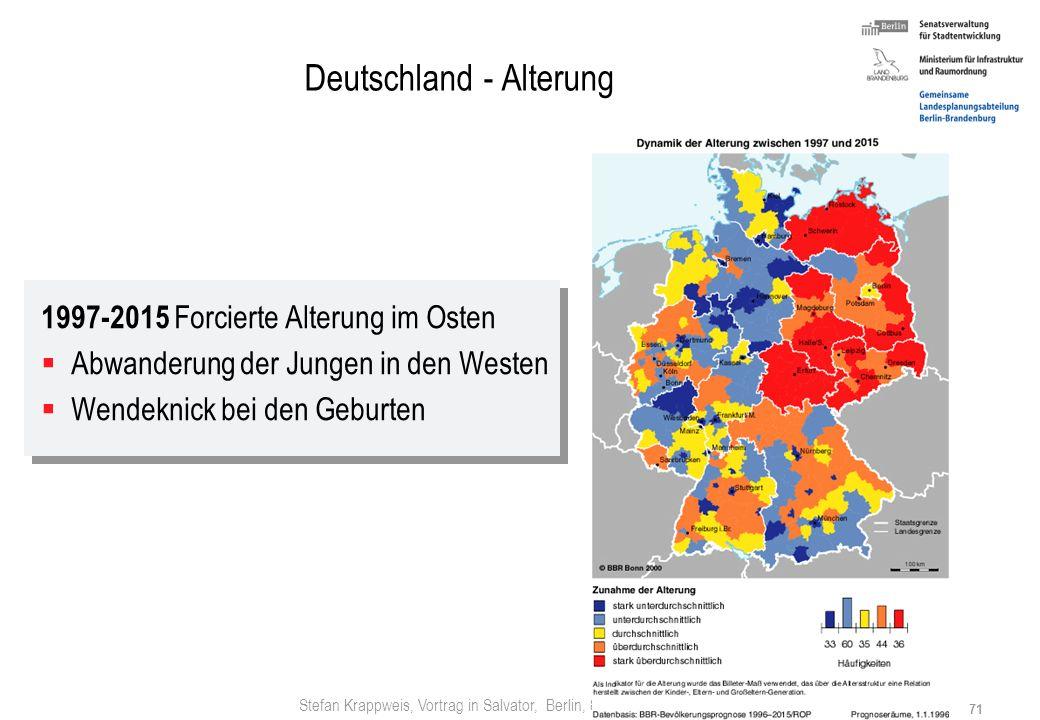 Stefan Krappweis, Vortrag in Salvator, Berlin, 8.3.2007 70 Deutschland - Alterung Quelle: Herwig Birg, Soziale Auswirkungen der demographischen Entwic