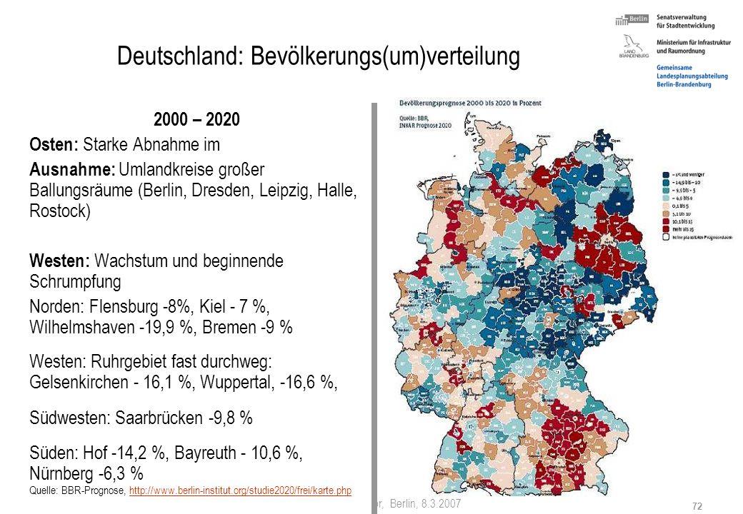 Stefan Krappweis, Vortrag in Salvator, Berlin, 8.3.2007 71 Deutschland - Alterung 1997-2015 Forcierte Alterung im Osten Abwanderung der Jungen in den