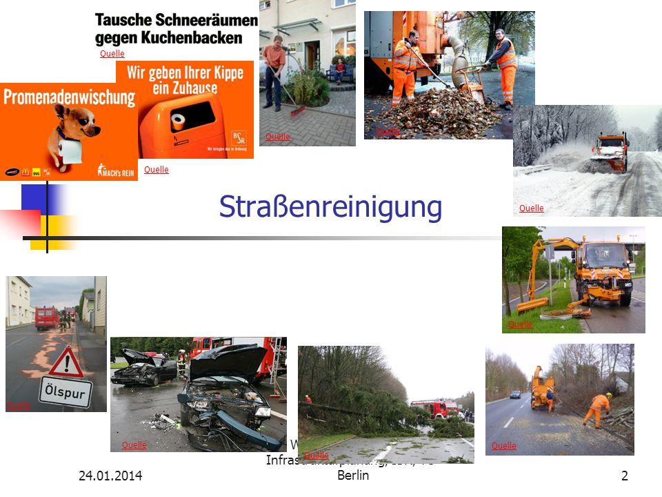 24.01.2014 WS 08/09 Vertiefende Infrastrukturplanung, ISR, TU-Berlin 3 Straßenreinigung Pflichtenkreis Ordnungsmäßige Reinigung (Straßenoberflächen) aller (!) öffentl.