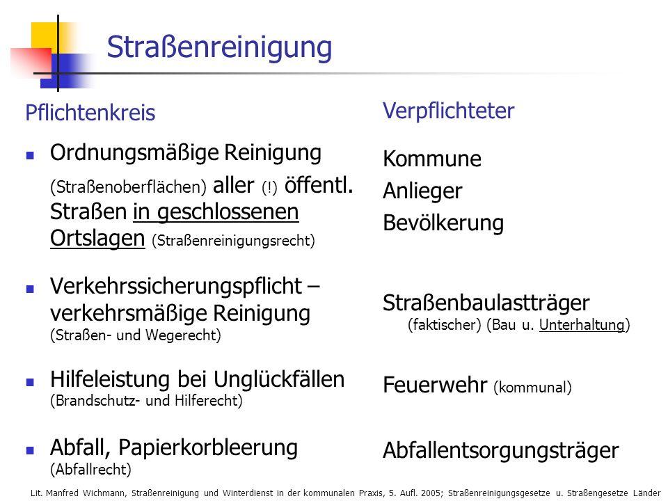 24.01.2014 WS 08/09 Vertiefende Infrastrukturplanung, ISR, TU-Berlin 3 Straßenreinigung Pflichtenkreis Ordnungsmäßige Reinigung (Straßenoberflächen) a