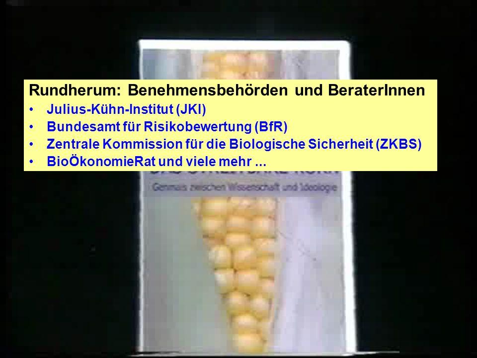 X Ein Geflecht von Firmen und Behörden: BioOK! Hinter den Kulissen: Konzerne Der Anwalt: Hartwig Stiebler, tätig für Monsanto! Der Wachschutz: Von BAS