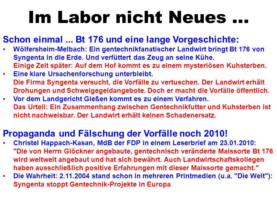 Im Labor nicht Neues... : Schon einmal... Bt 176 und eine lange Vorgeschichte: Wölfersheim-Melbach: Ein gentechnikfanatischer Landwirt bringt Bt 176 v