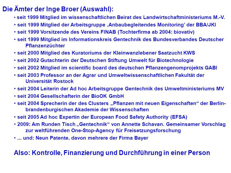 Nicht einzelne Personen, sondern das Prinzip der Funktionseliten! Vier Bereiche Firmen –Konzerne: BASF, Bayer, KWS (dt.) Monsanto, Syngenta, Pioneer..