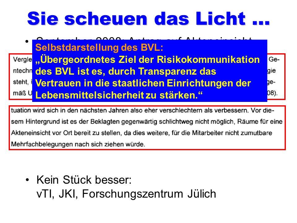 Die Zuständigen für alle Freisetzungen! Quote: 100 Prozent genehmigt! Dr. Hans-Jörg Buhk Leiter der Gentechnikabteilung des BVL. Unterzeichner und Bea