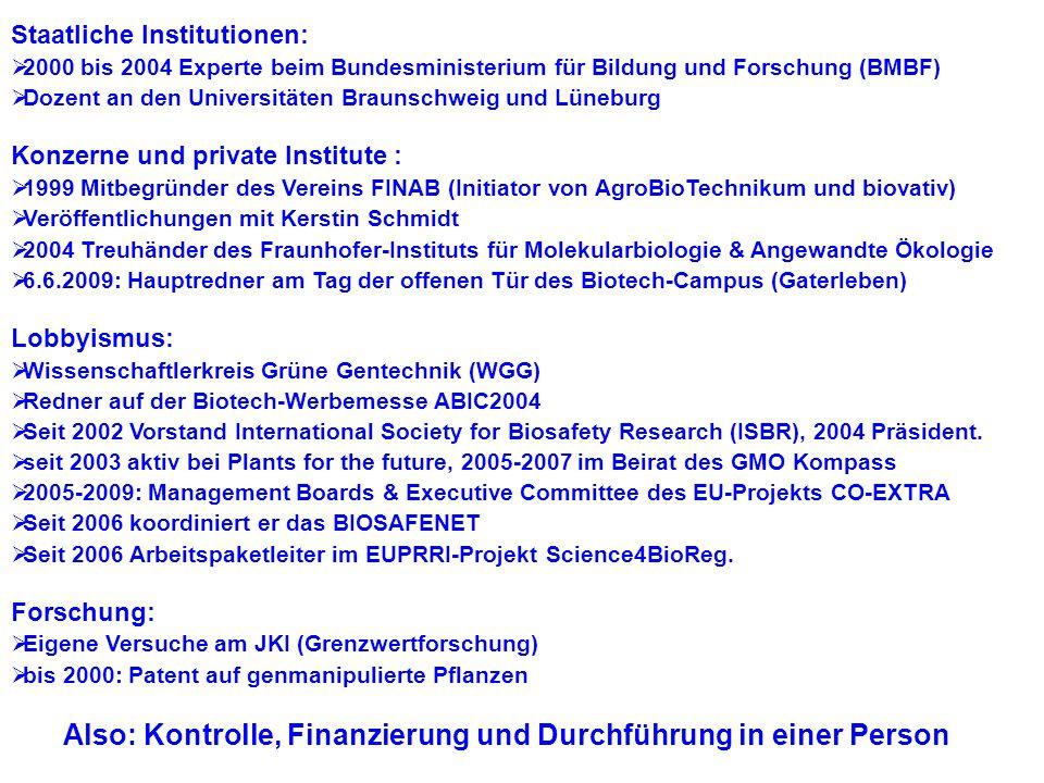 Schlechte Nachrichten... 1.Kontrolleurin wechselt zur Industrie: EFSA Syngenta! 2.Neuer Lobbyverband: Forum Bio- und Gentechnologie 3.Überall: gv-Best