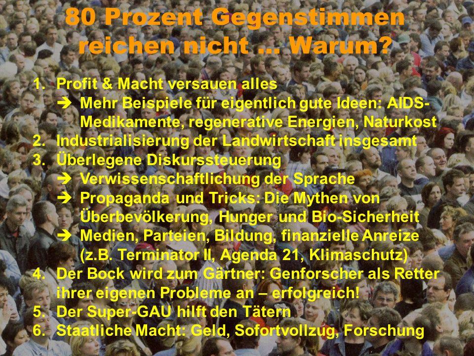 Macht und Monopole 1.Patente auf Leben Lizenzgebühren auf jede manipulierte Sequenz Voraussetzung für Patentierung auch bei Nicht-GVO 2.Monopol und Kontrolle Langzeitverträge (Knebelverträge) Kombination von Herbizid und Saatgut Zerschlagung der Landwirtschaft, z.B.