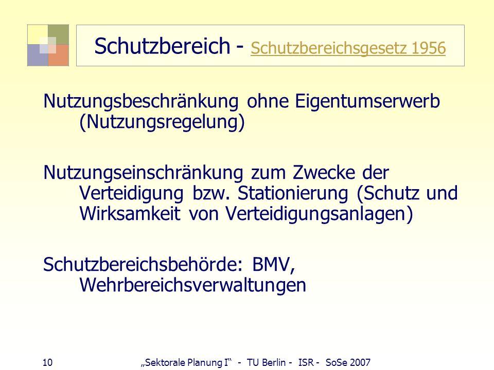 10Sektorale Planung I - TU Berlin - ISR - SoSe 2007 Schutzbereich - Schutzbereichsgesetz 1956 Schutzbereichsgesetz 1956 Nutzungsbeschränkung ohne Eige