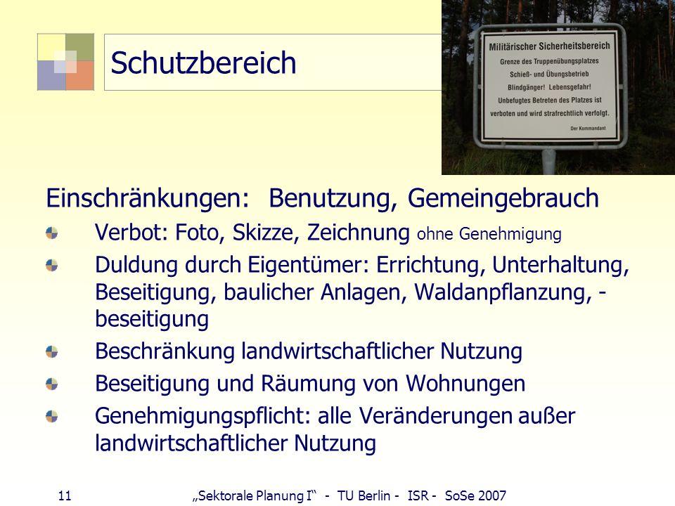 11Sektorale Planung I - TU Berlin - ISR - SoSe 2007 Schutzbereich Einschränkungen: Benutzung, Gemeingebrauch Verbot: Foto, Skizze, Zeichnung ohne Gene