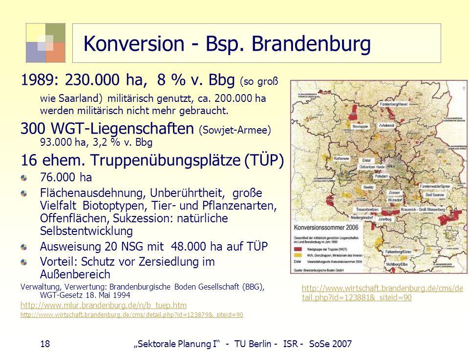 18Sektorale Planung I - TU Berlin - ISR - SoSe 2007 Konversion - Bsp. Brandenburg 1989: 230.000 ha, 8 % v. Bbg (so groß wie Saarland) militärisch genu