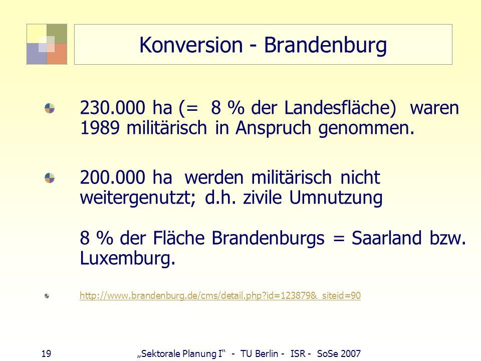 19Sektorale Planung I - TU Berlin - ISR - SoSe 2007 Konversion - Brandenburg 230.000 ha (= 8 % der Landesfläche) waren 1989 militärisch in Anspruch ge