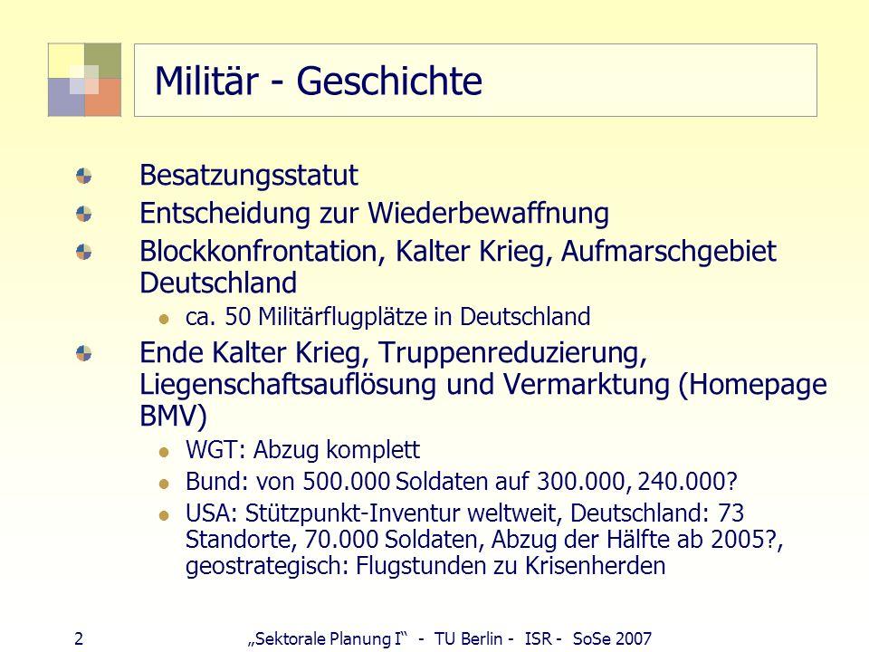 2Sektorale Planung I - TU Berlin - ISR - SoSe 2007 Militär - Geschichte Besatzungsstatut Entscheidung zur Wiederbewaffnung Blockkonfrontation, Kalter