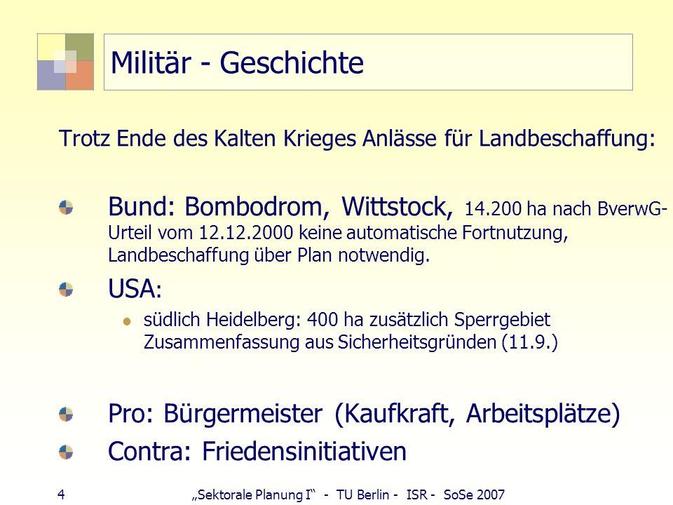 4Sektorale Planung I - TU Berlin - ISR - SoSe 2007 Militär - Geschichte Trotz Ende des Kalten Krieges Anlässe für Landbeschaffung: Bund: Bombodrom, Wi