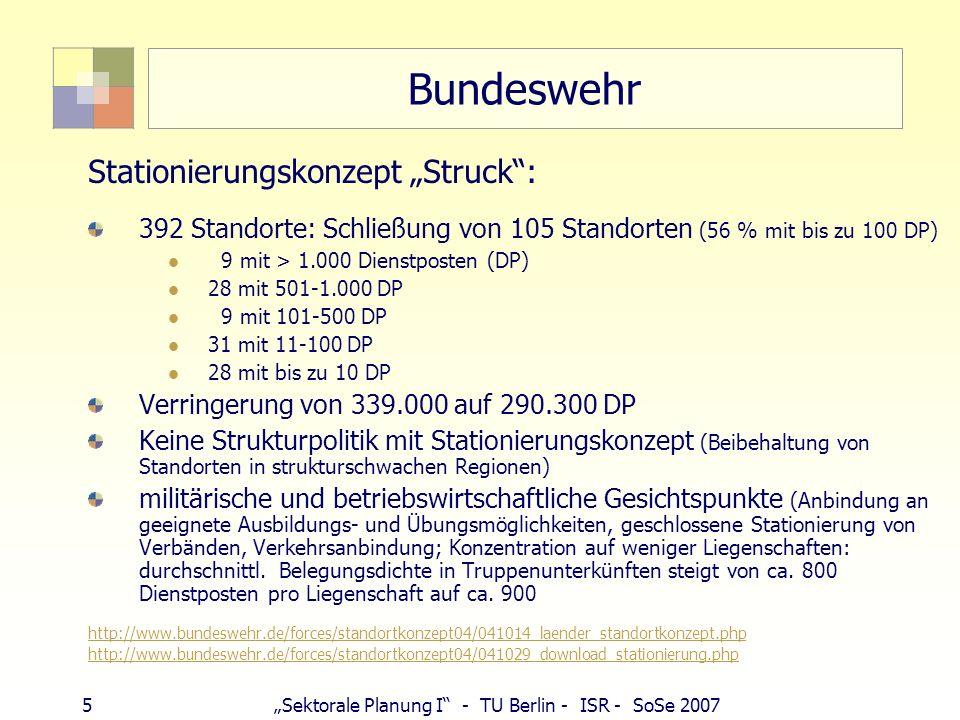 5Sektorale Planung I - TU Berlin - ISR - SoSe 2007 Bundeswehr Stationierungskonzept Struck: 392 Standorte: Schließung von 105 Standorten (56 % mit bis
