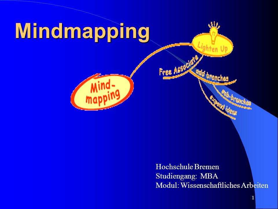 1 Mindmapping Hochschule Bremen Studiengang: MBA Modul: Wissenschaftliches Arbeiten